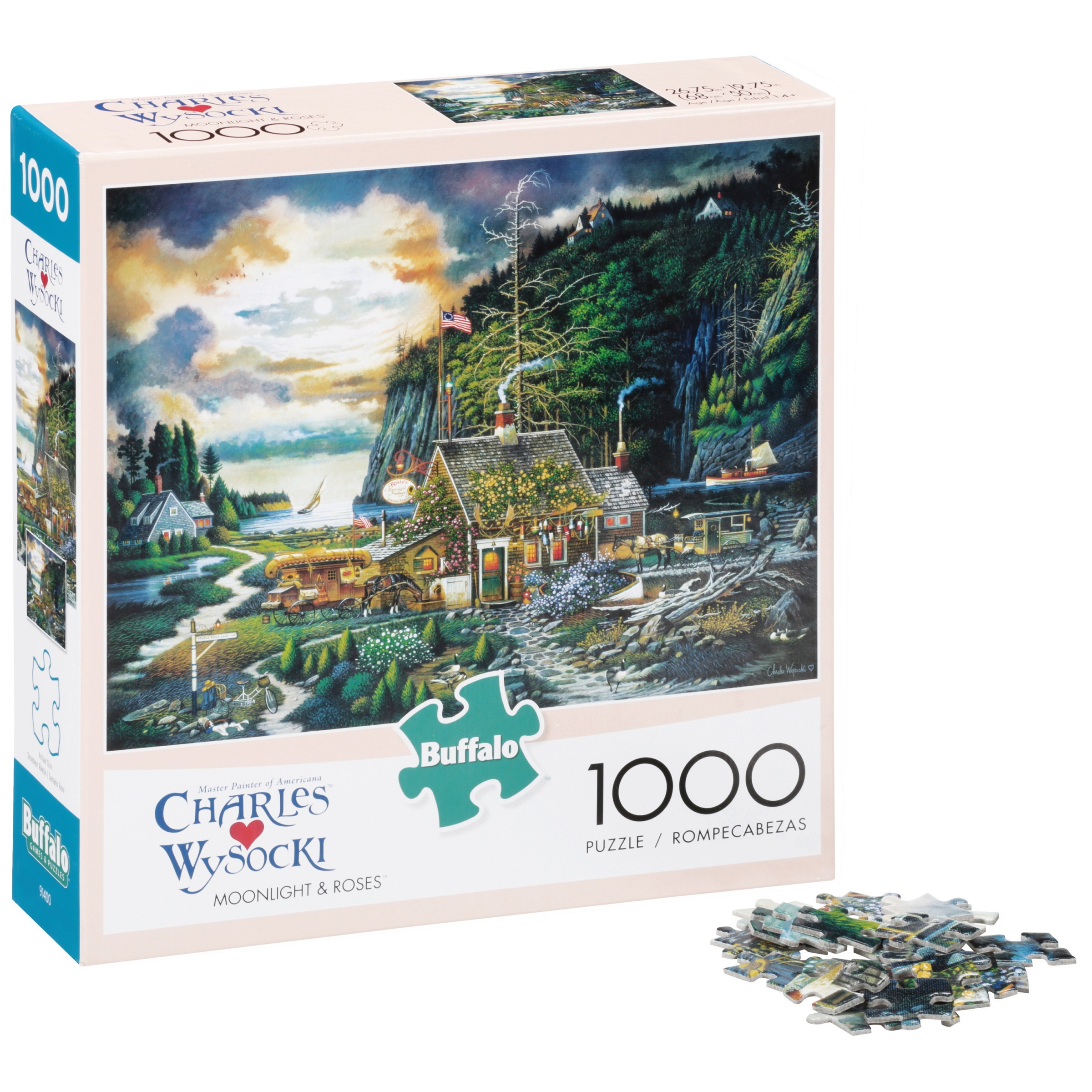 Buffalo Charles Wysocki Moonlight & Roses Puzzle 1000 pc Box by Buffalo Games, LLC