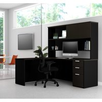 Pro-Concept Plus L-Desk with Hutch in Deep Grey & Black