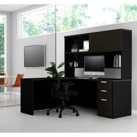 Premium Plus Hutch - Pro-Concept Plus L-Desk with Hutch in Deep Grey & Black