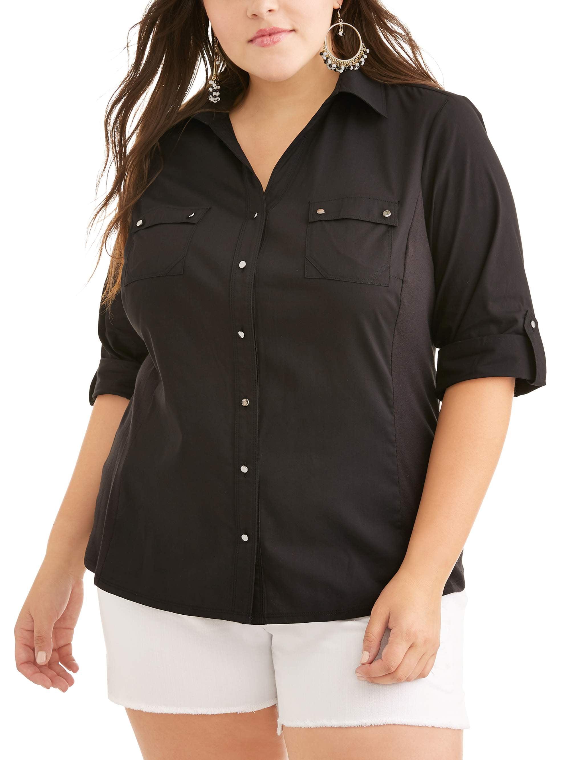 Women's Plus Roll Up Sleeve Button Up Shirt