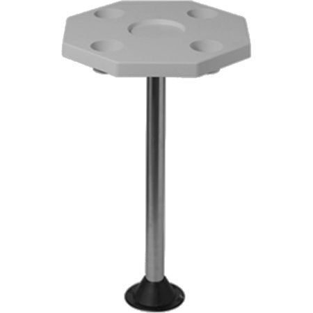 "DetMar Octagonal Table Top Only with Molded-In Cup Holders, 20"", Ivory"