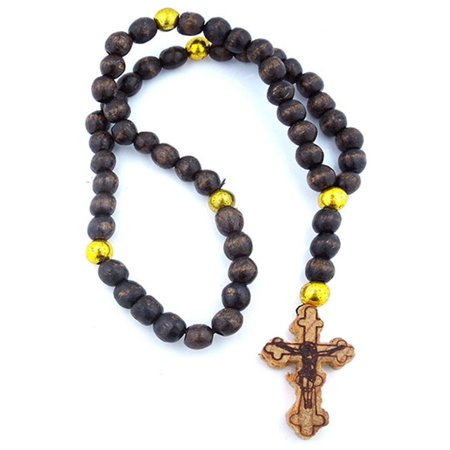 Made in Russia Black Wooden Prayer Beads 11 Inch Rosary with Budded Cross Crucifix - Wooden Rosary