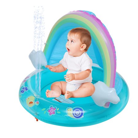Image of Baby Pool, Rainbow Pool With Canopy, Spray Pool Of 40In, Water Sprinkler