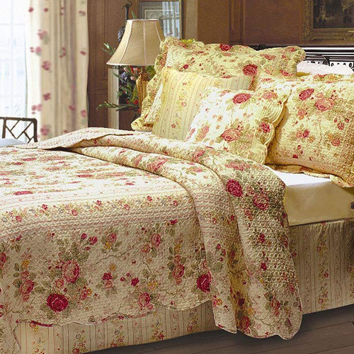 Greenland Home Fashions Antique Rose - Quilt Set Includes Bonus 18 in. Pillow