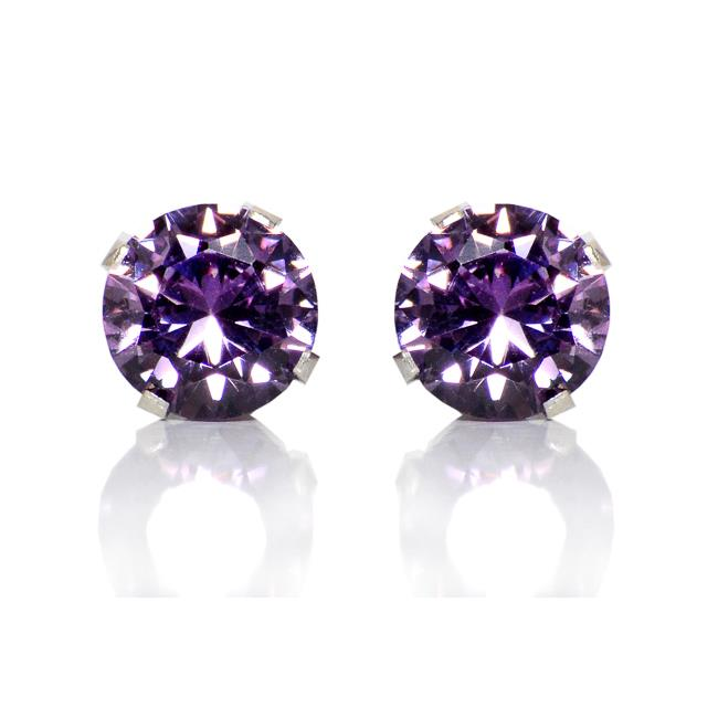 Precious Stars Jewelry Sterling Silver 6-mm Purple Round Cubic Zirconia Stud Earrings