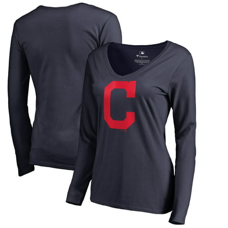 Cleveland Indians Logo Charm - Cleveland Indians Women's Team Color Primary Logo V-Neck Long Sleeve T-Shirt - Navy