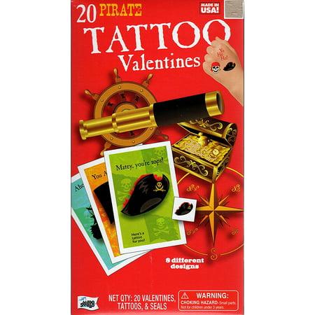 Pirate Tattoo Kids Valentine Cards - Pkg. of 20 (38931), Package of 20 kids Valentine cards By Mello Smello - Mello Smello Halloween