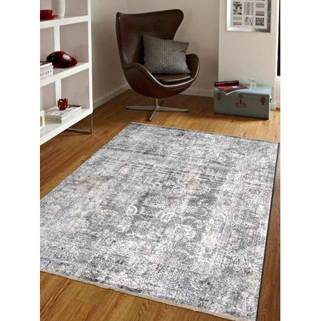 Rugsotic Carpets Cross Weave Machine Made Polyester 2' x 3' 10'' Vintage Area Rug Brown M00080-Color:Brown,Material:Polyester,Shape:Rectangle,Size:4' 8'' x 6'