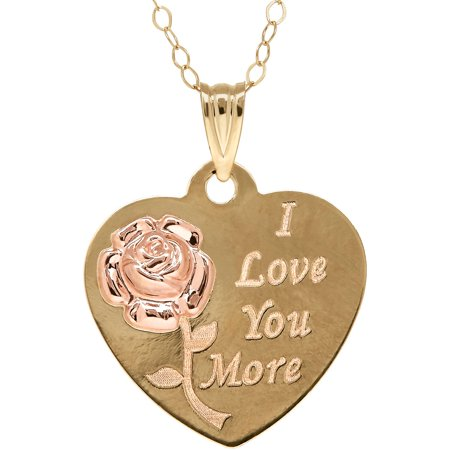 10kt Gold Heart Disk with Flower and I Love You More Pendant Necklace
