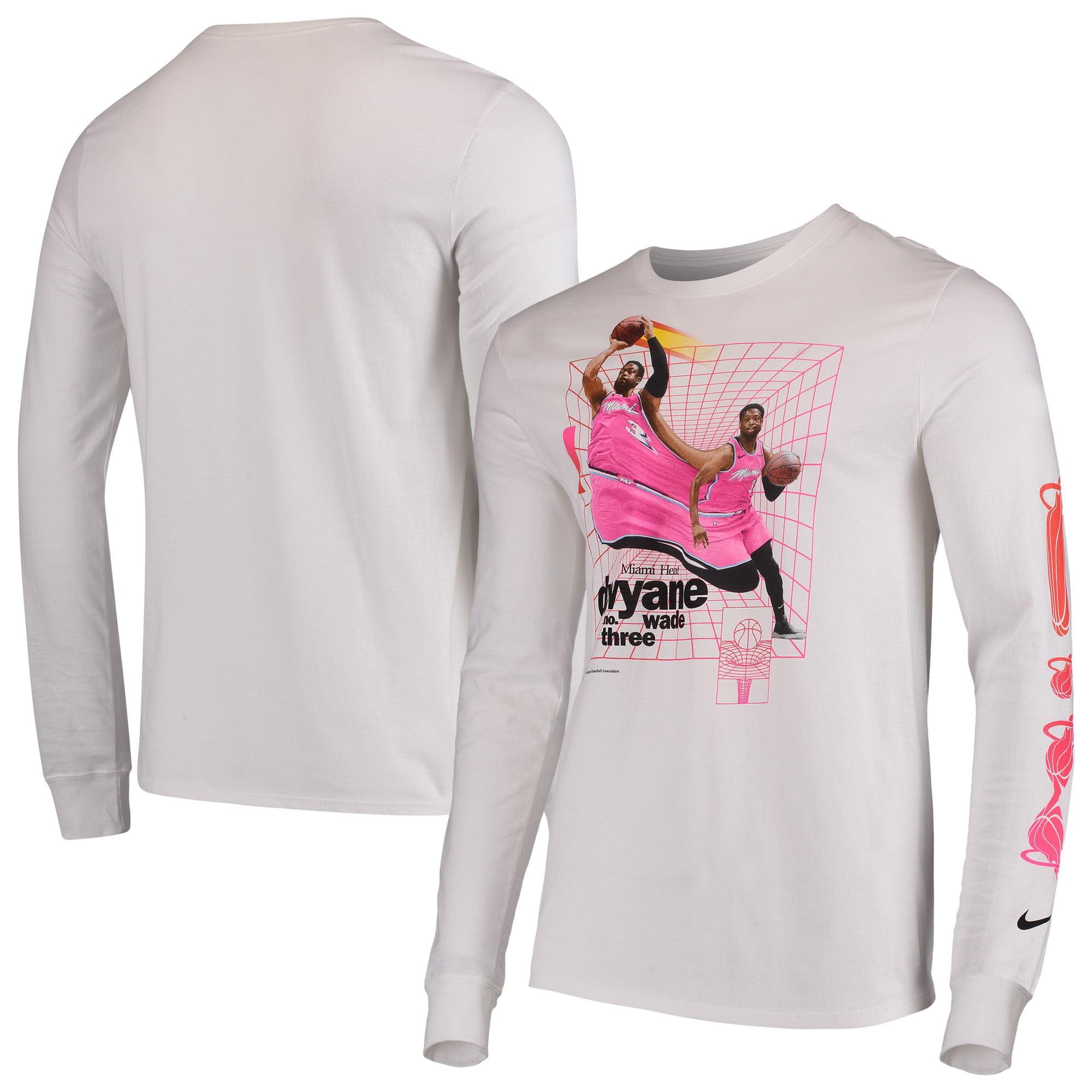 new arrival 95e8f 171f8 Dwyane Wade Miami Heat Nike Time Warp Long Sleeve T-Shirt - White