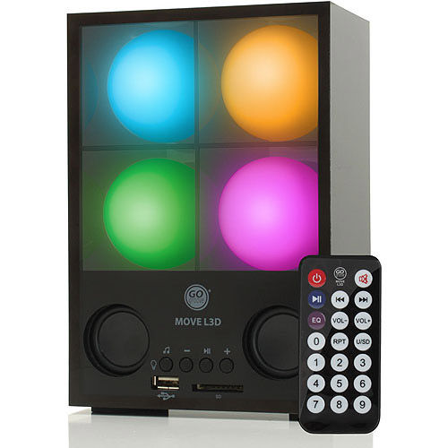 GOgroove MOVE L3D Portable Speaker System with Fun LED Light Show, Universal 3.5mm AUX Connection, Rechargeable Battery and Included Remote - Use with Smartphones, Tablets, MP3 Players and More!