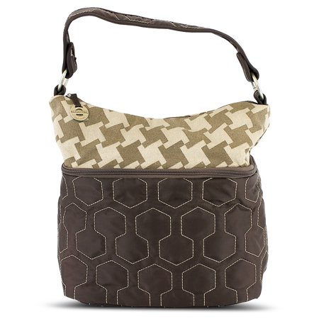 Quilted Nylon Zip-Top Train Case - Brown/Houndstooth Pattern