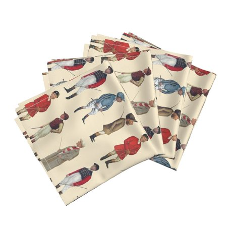Equestrian Horse Jockeys Jockeys Cotton Dinner Napkins by Roostery Set of 4