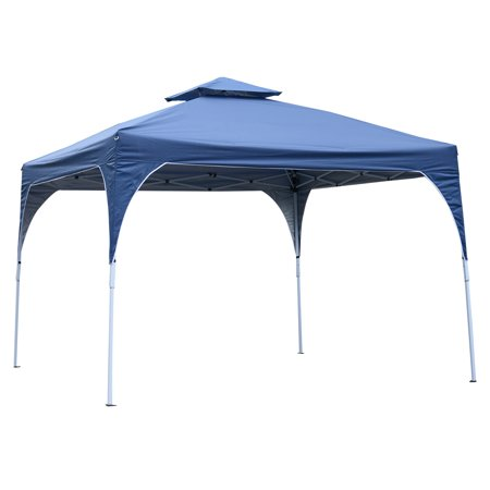 10' x 10' Easy Pop-Up Canopy Party Tent  Canopy Shelter with 2-tier Roof - Blue