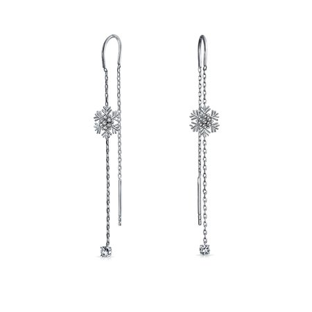Thin Winter Holiday Snowflake Ear Threader Chain Dangle Earrings For Women For Teen 925 Sterling Silver Clear Dangle Bead Earrings