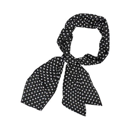 Black & White Polka Dot Print Long Slim Waist Belt