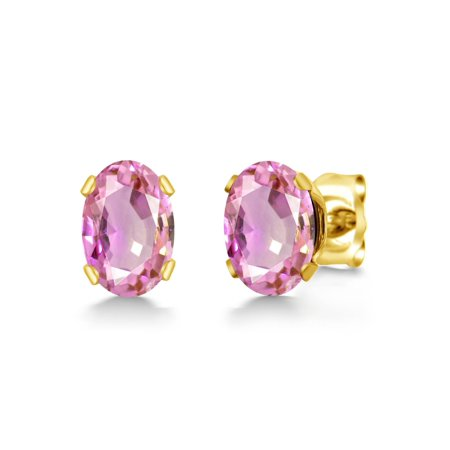 1.10 Ct Oval 6x4mm Pink Sapphire 18K Yellow Gold Plated Silver Stud Earrings