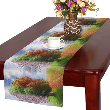 MKHERT Four Season Tree Magical Nature Theme Table Runner Home Decor for Home Kitchen Wedding Party Banquet Decoration 16x72 Inch - Themed Banquets