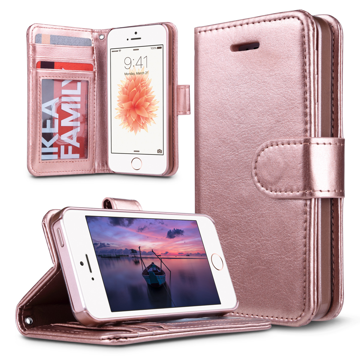 uk availability 76700 b24bf iPhone 5s Case, iPhone 5 Case, ULAK iPhone 5s/5/SE Wallet Case, Fashion PU  Leather Magnet Wallet Flip Case Cover with Built-in Credit Card/ID Card ...