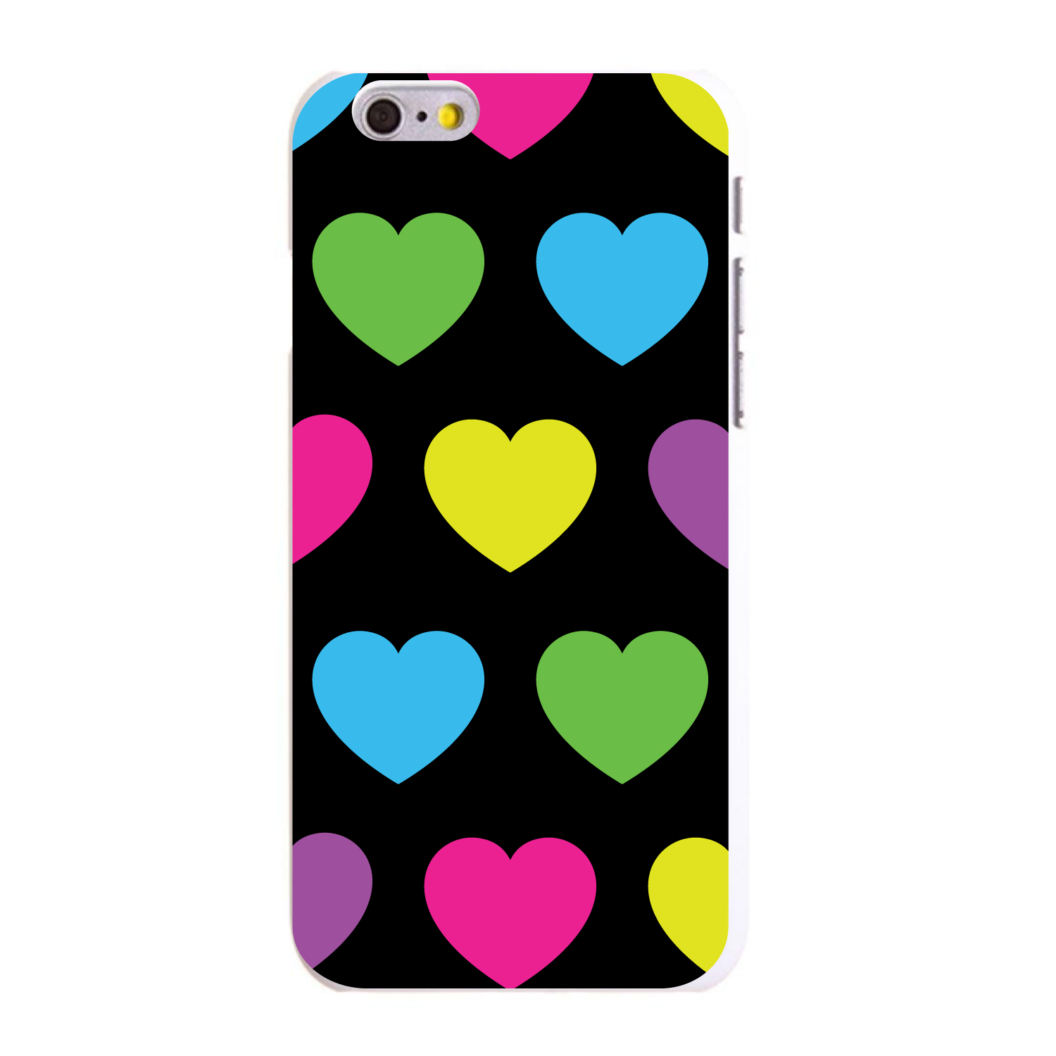 "CUSTOM White Hard Plastic Snap-On Case for Apple iPhone 6 / 6S (4.7"" Screen) - Black Multi Color Hearts"