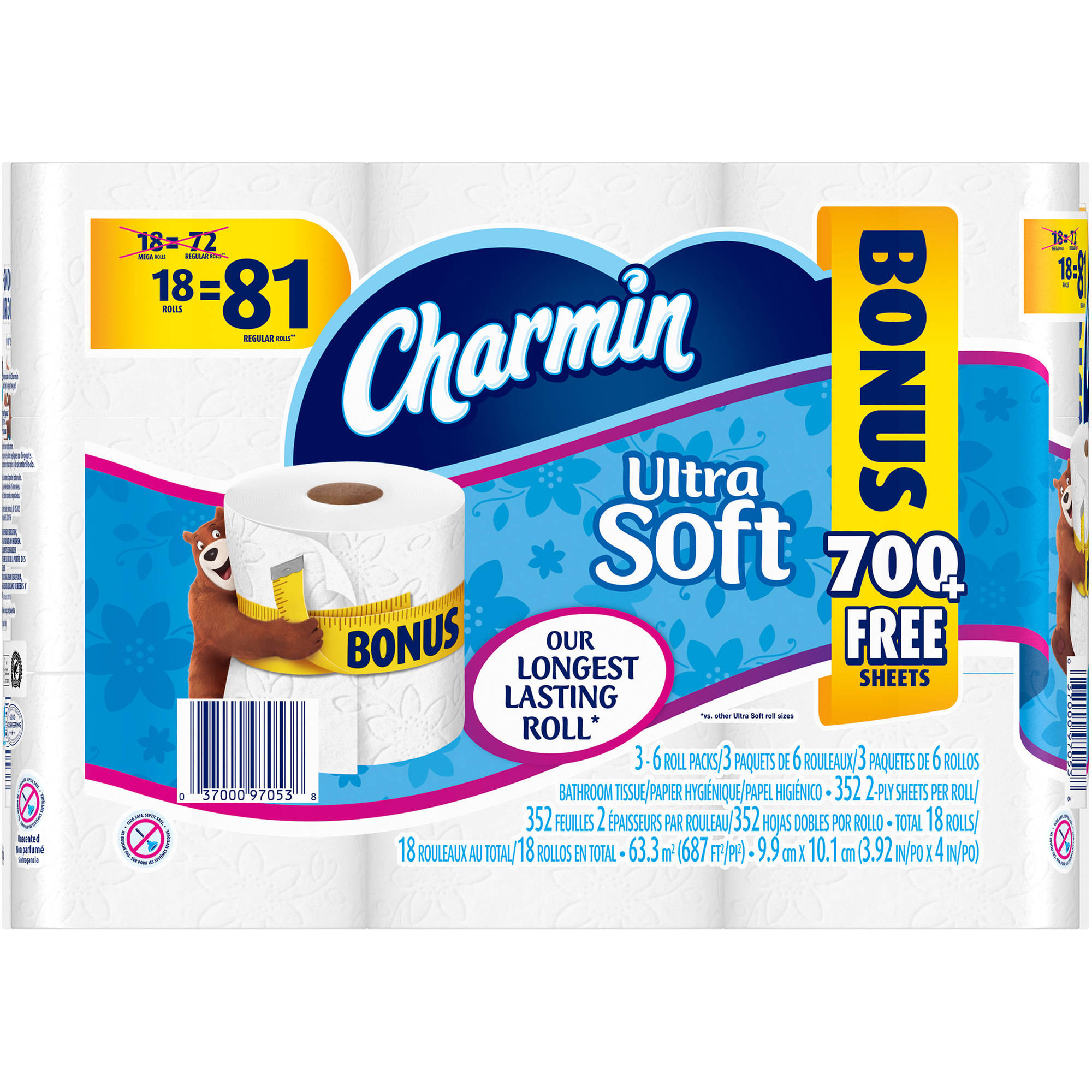 Charmin Ultra Soft Toilet Paper Mega Rolls, 352 sheets, 18 rolls