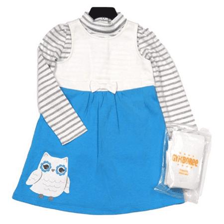 - Gymboree Girls 3 Piece Blue Owl Jumper Dress (Blue, 6)