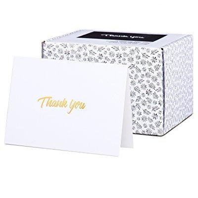 100 thank you cards with gold text on white paper - with envelopes