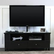 60 in. Wood TV Console w Mount & Multi-Purpose Storage in Black