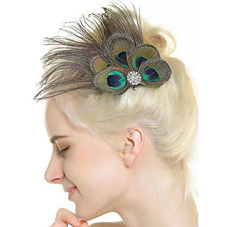 Nero Women's Handmade Peacock Feather Fascinator Headpiece, Fascinator Headband for Fancy Party - image 1 de 3