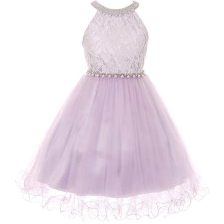 Little Girl Gorgeous Pearl Halter Pageant Gown Party Flower Girl Dress Lilac 4 CC 5052 BNY Corner - Gorgeous Girls Dresses