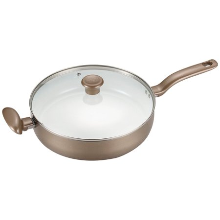 T-fal C72882 Initiatives Nonstick Ceramic Coating PTFE PFOA and Cadmium Free Scratch Resistant Dishwasher Safe Oven Safe Jumbo Cooker Fry Pan Cookware, 5-Quart, Gold All Clad Oven Safe Fry Pan