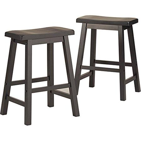 Set of 2 Charcoal Black Country Style Saddle Back Solid Wood Bar Stool Counter Height Country Style Solid Wood