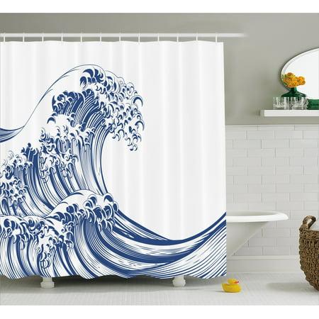 Japanese Wave Shower Curtain, Oriental Vintage Great Wave Monochrome ...