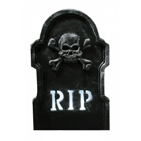 22andquot; LED Tombstone Adult Decoration RIP Skull Grave Marker (Grave Halloween Netflix)