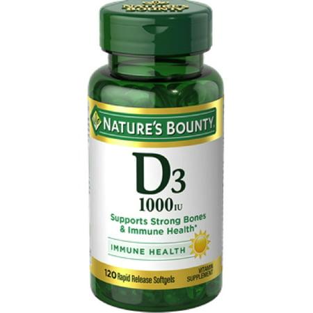 - Nature's Bounty Vitamin D3 1000 IU Immune Health, 120 Softgels