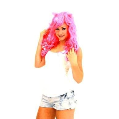 Deluxe Costume Wig With Ears Adult: Pink/Cupcake One Size Fits Most - Pink Wigs For Sale