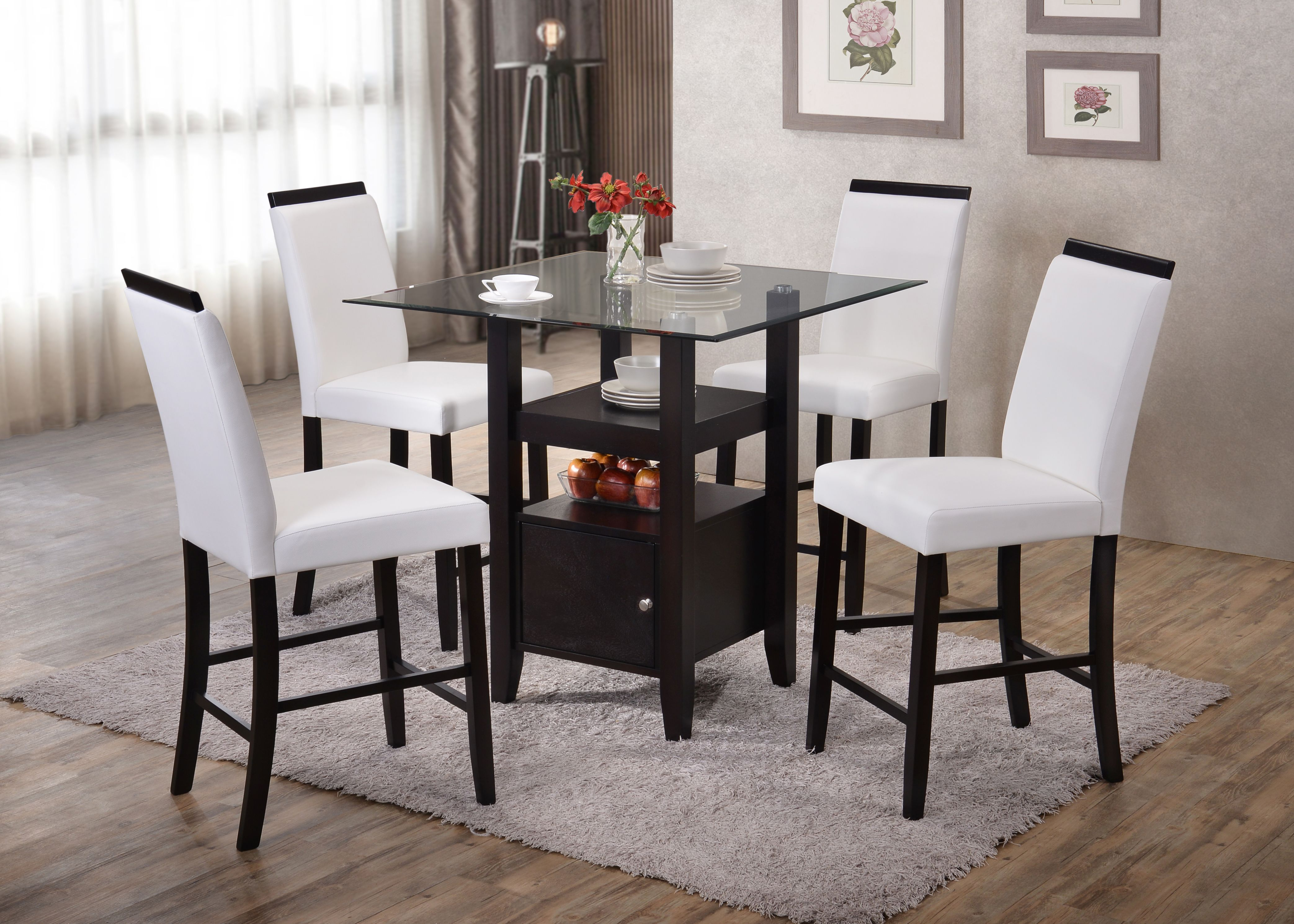 5 Piece Cappuccino Wood U0026 Glass Square Counter Height Kitchen Dinette Dining  Table 4 White 24