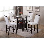 Counter height table set 5 piece cappuccino wood glass square counter height kitchen dinette dining table 4 white 24 watchthetrailerfo