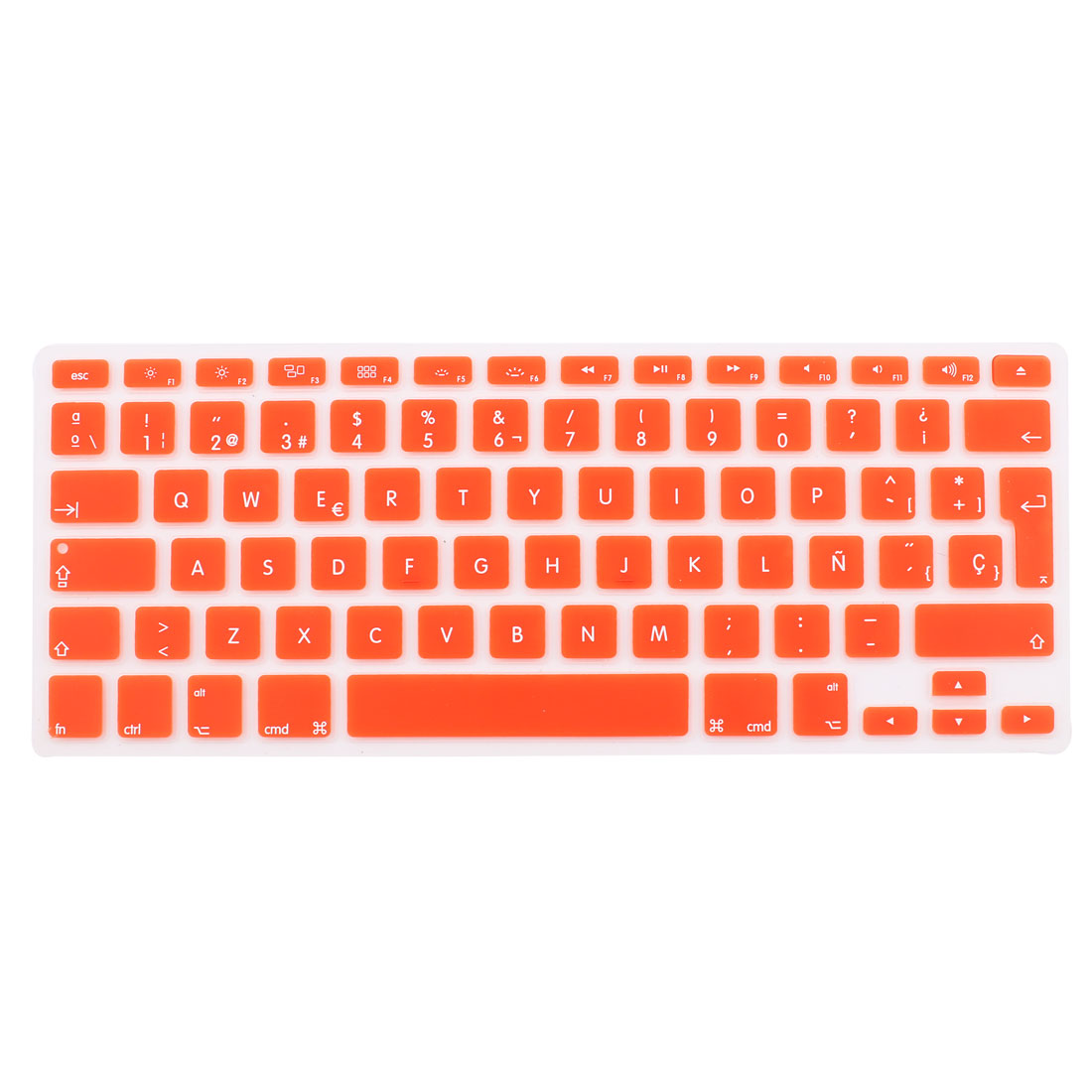 "Unique Bargains Spanish Silicone Keyboard Skin Cover Orange for Apple Macbook Air 13""15""17"" EU"