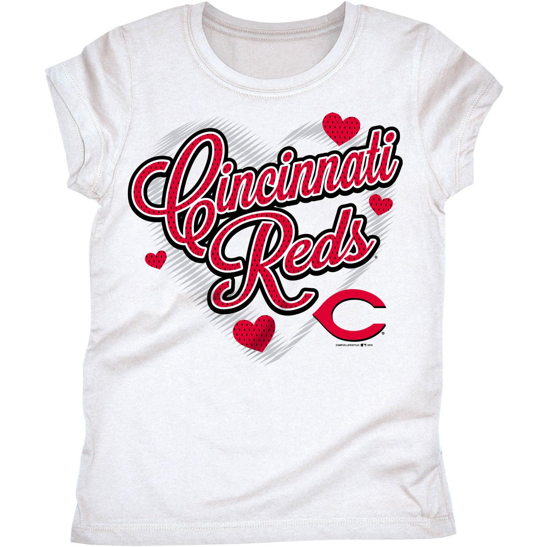 MLB Cincinnati Reds Girls Short Sleeve White Graphic Tee