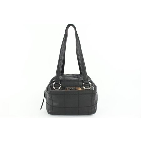 Quilted Caviar Boston Bowler 14cz0129 Black Leather Shoulder Bag