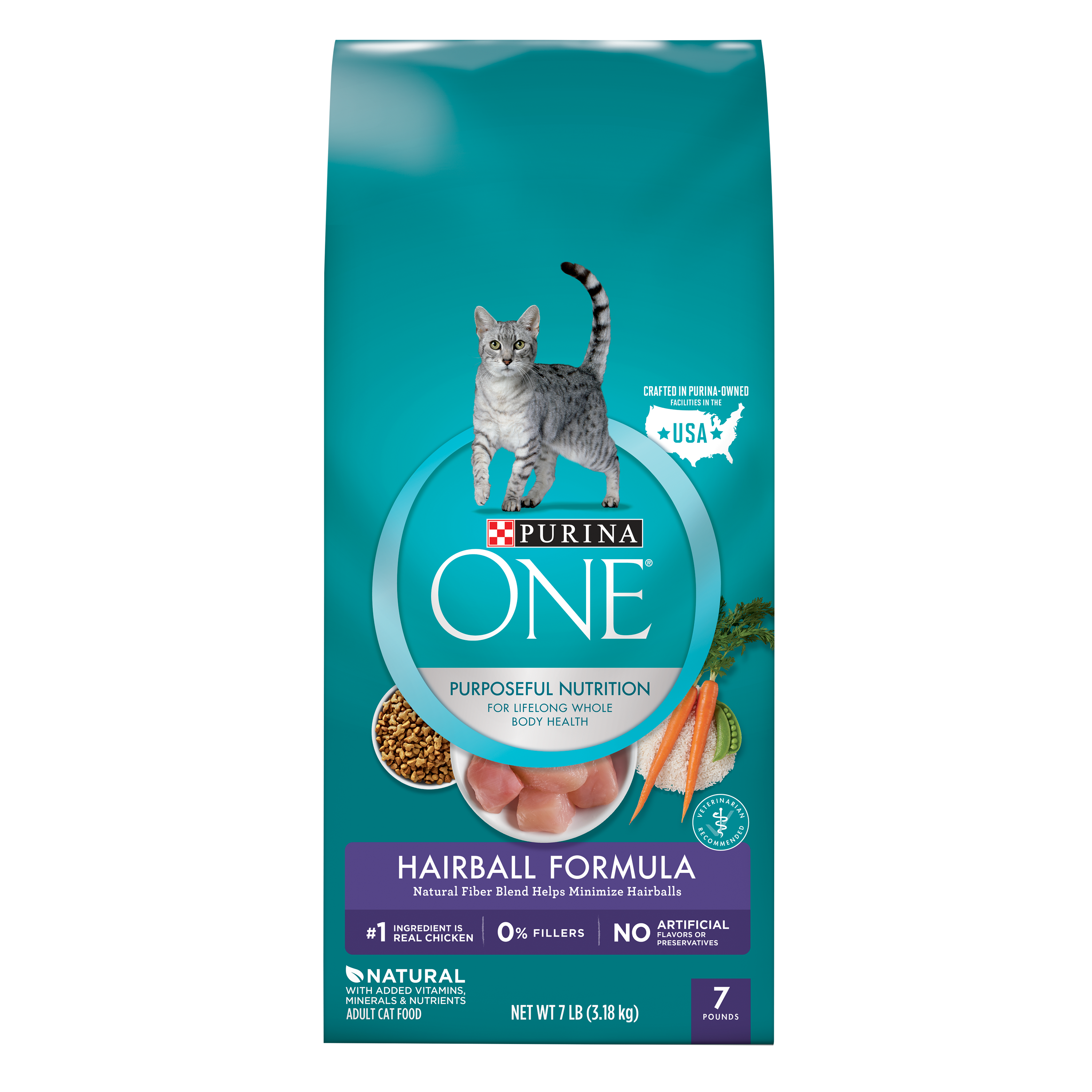 Purina ONE Hairball Formula Adult Dry Cat Food, 7 lb
