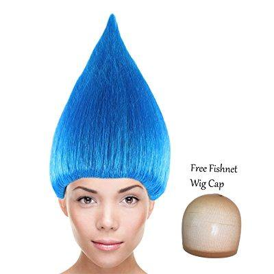 cici trolls wigs synthetic hair w/ wig cap cosplay costume party halloween colorful blue wig for men, women