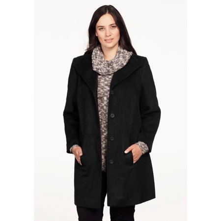 Wool Blend Button - Ellos Plus Size Brushed Wool Blend Button Coat