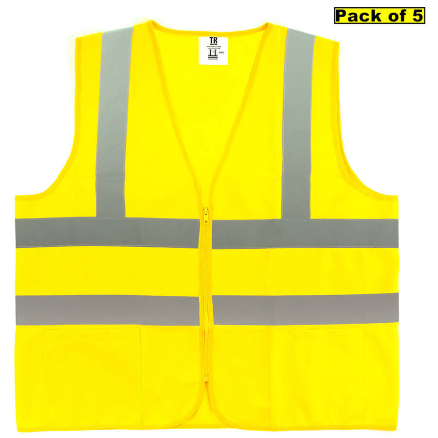 TR Industrial Neon Yellow Front Zipper Mesh Safety Vest, Size Large, 5pk