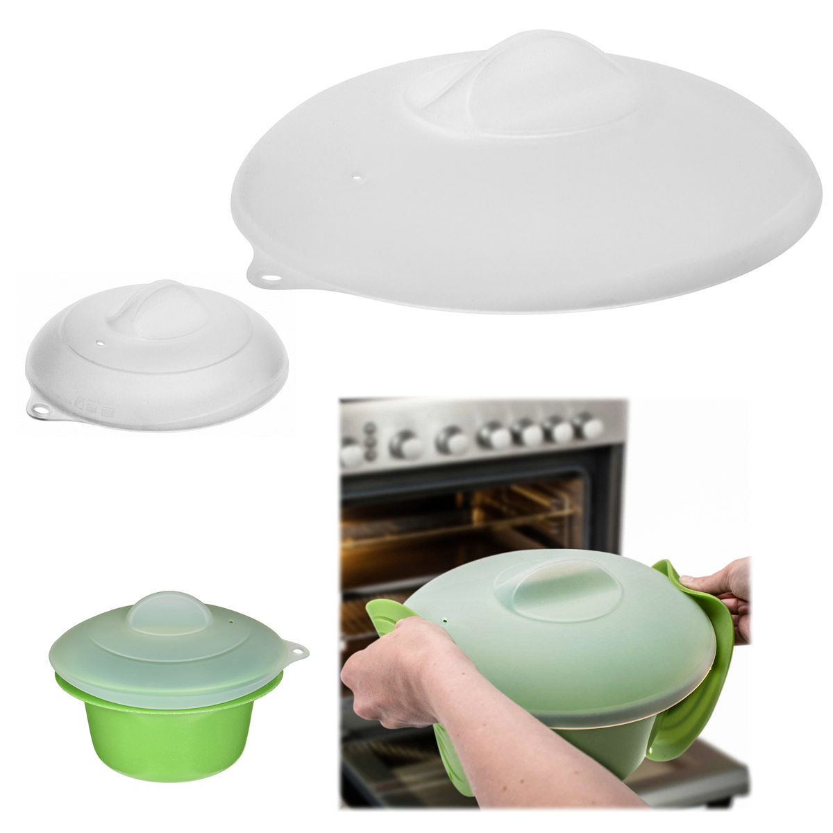 Zak Set of 2 Silicone Lids Dome Microwave Cover for Food Splatter Guard Large Small Plates