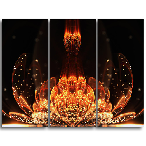 Design Art Bright Orange Glossy Fractal Flower - 3 Piece Graphic Art on Wrapped Canvas Set