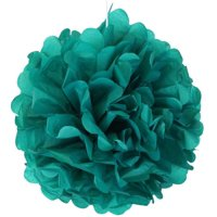 """Just Artifacts 5pcs 8"""" Inch Tissue Paper Pom Pom Flower Ball (Color: Peacock Green)"""