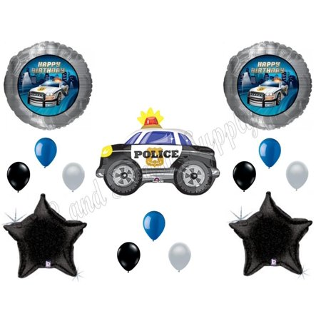 Policeman Car Birthday Balloons Decoration Supplies Party Cops Law Paw Patrol for $<!---->