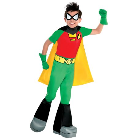 Suit Yourself Teen Titans Go! Robin Costume for Boys, Includes a Jumpsuit, a Cape, Boot Covers, and More - Teen Titan Robin Costume